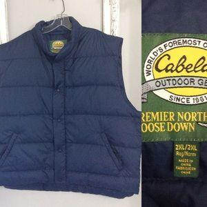 Men's Cabela's Navy Goose Down Winter Vest Sz 2XL